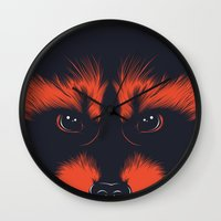 raccoon Wall Clocks featuring raccoon by CranioDsgn