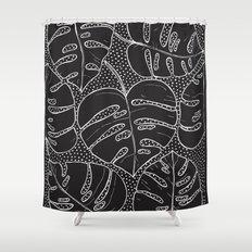 Poá Monstera B&W Shower Curtain