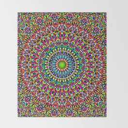 Happy Garden Mandala Throw Blanket