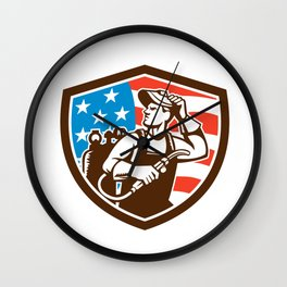 Welder Looking Side USA Flag Crest Retro Wall Clock