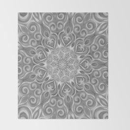 Gray Center Swirl Mandala Throw Blanket