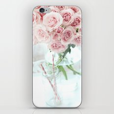 Shabby Chic Cottage Vintage Pink Pastel Roses In Clear Vase Prints and Home Decor iPhone & iPod Skin