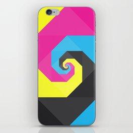 CMYK triangle spiral iPhone Skin