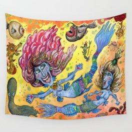 Blue-Finned Mermaids watercolor Wall Tapestry