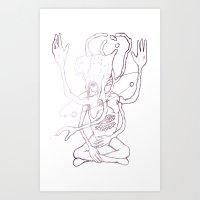 sagan Art Prints featuring Hail Sagan by Paul Conrad