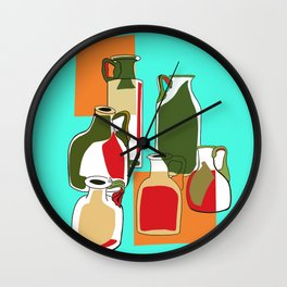 Retro glass bottles Wall Clock
