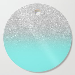 Modern girly faux silver glitter ombre teal ocean color bock Cutting Board