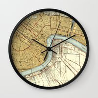 new orleans Wall Clocks featuring New Orleans by Larsson Stevensem