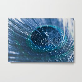 Peacock Feather Macro Waterdrops Metal Print