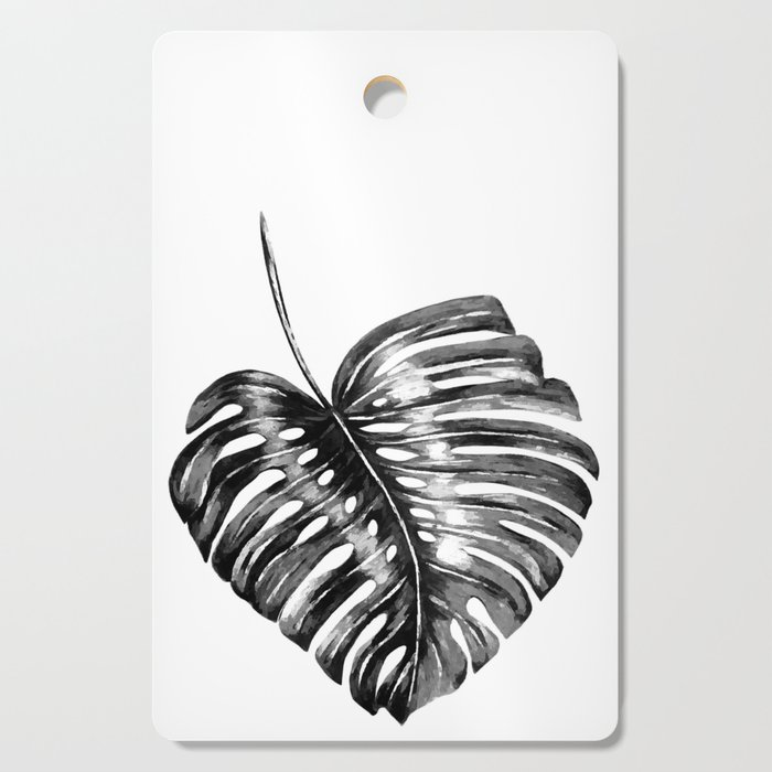 Monstera leaf black watercolor illustration Cutting Board