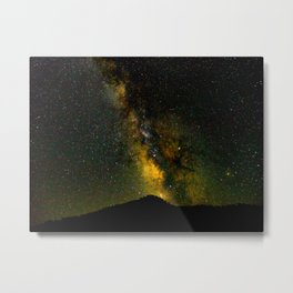 Beautiful Yellow Milky way Galaxy At Night Stars Sky Landscape Photography Metal Print
