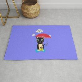 Cat in the rain with Umbrella Rug