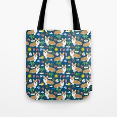 Corgi Beach summer fabric - cute dogs design Tote Bag
