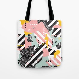 Spliced Geometric Memphis Pattern Geo Stripes Tote Bag