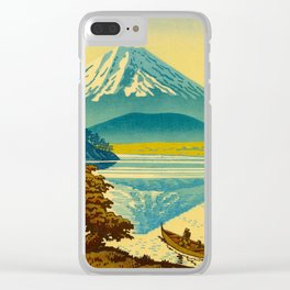 Japanese Woodblock Print Vintage Asian Art Colorful woodblock prints Mount Fuji Clear iPhone Case