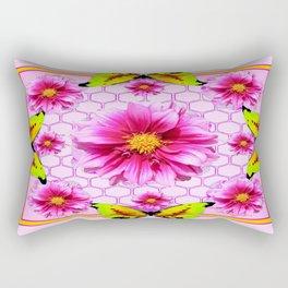 Frosted Fuchsia Pink Dahlias Yellow Patterned Art Rectangular Pillow