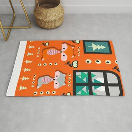 Little foxes waiting for Santa Rug