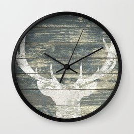 Rustic White Deer Silhouette Teal Wood A311 Wall Clock