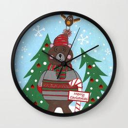 Have A Beary Nice Christmas Wall Clock