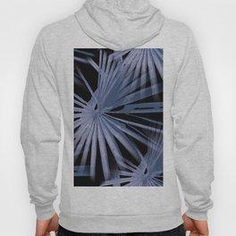 Blue on Black Tropical Vibes Beach Palmtree Vector Hoody