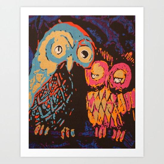 Psychedelic Owls Art Print