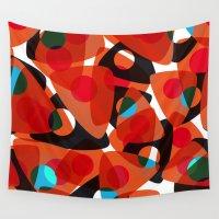 70s Wall Tapestries featuring orange 70s by Matthias Hennig