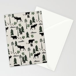 Camping woodland forest nature moose bear pattern nursery gifts Stationery Cards