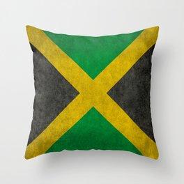 Jamaican flag, Vintage retro style Throw Pillow