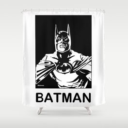 ( Michael Keaton 1989 )  A Costumed Hero by Peter Melonas Shower Curtain