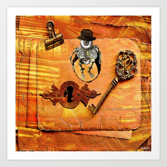 Monsieur Bone and the secret key Art Print