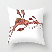 sea horse Throw Pillows featuring Sea Horse by Jonathan Gehrke