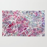 brussels Area & Throw Rugs featuring Brussels Map by MapMapMaps.Watercolors
