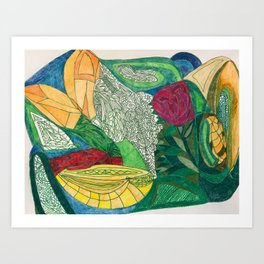 Fruit and Veggie Bowl with Rose Art Print