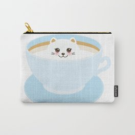 Cute Kawai cat in blue cup Carry-All Pouch