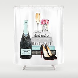 Champagne, Teal, books, shoes, peonies, Peony, Fashion illustration, Fashion, Amanda Greenwood, gift Shower Curtain