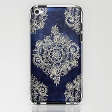 Cream Floral Moroccan Pattern on Deep Indigo Ink iPhone & iPod Skin