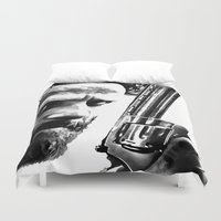 rick grimes Duvet Covers featuring Rick Walking Dead by TARA SCHLAYER