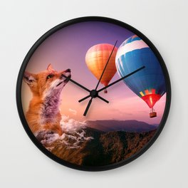 Dreamy fox in the sunset Wall Clock