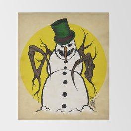 Sinister Snowman Throw Blanket