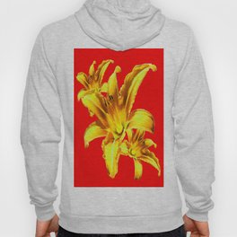 Yellow Day Lilies on Chinese Red  Hoody