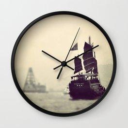 Sampan boat crossing over Hong-Kong Wall Clock