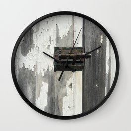 Vintage Latch on Weathered Wood Wall Clock