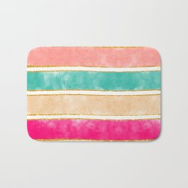 Modern Stripes Pink Red Watercolor Gold Glitter Bath Mat