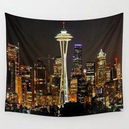 Seattle Space Needle & Cityscape Wall Tapestry