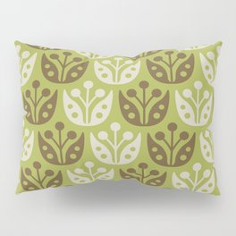 Mid Century Modern Flower Pattern Chartreuse and Brown 112 Pillow Sham