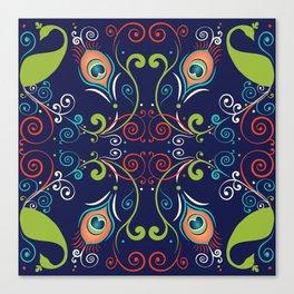 Peacock Nouveau Canvas Print