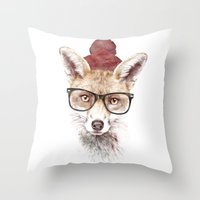 lady gaga Throw Pillows featuring It's pretty cold outside by Robert Farkas