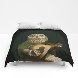 Renaissance Owl Playing His Lute Comforters