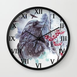 Ravens Abstract Watercolor Splash Winter Forest Scene Wall Clock