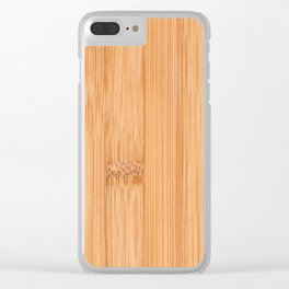 Cool elegant light brown bamboo wood print Clear iPhone Case